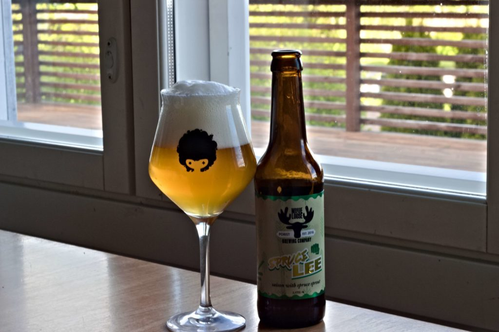 Moose On The Loose - Bruce Lee beer bottle next to the beer in a Teku glass